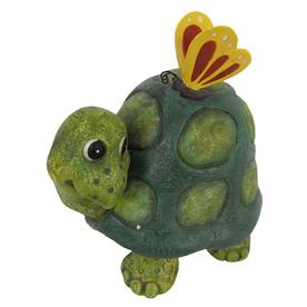 8-in H Turtle W/ Butterfly Garden Statue
