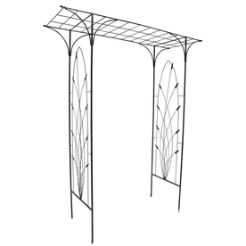Garden Treasures 24.84-in W x 84-in H Black Arbor Waving Wheat Garden Arbor