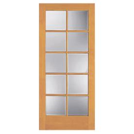 Shop reliabilt 10 lite french solid core non bored clear glass interior slab door common 32 in 32 inch interior french doors
