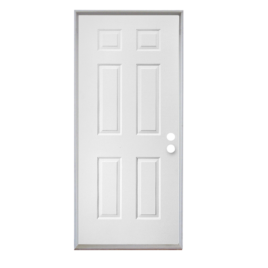 Shop reliabilt 6 panel prehung outswing steel entry door for Prehung exterior door