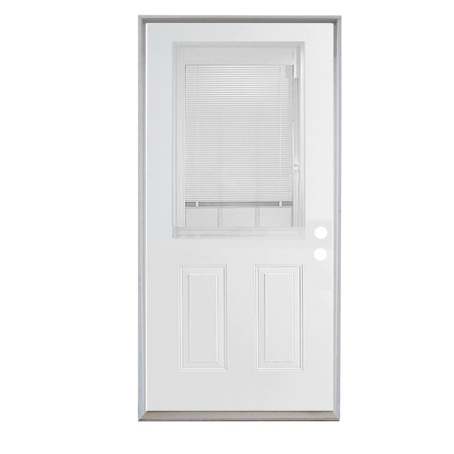 Shop Reliabilt 36 Steel Entry Door Unit With Blinds Between The Glass With Internal Grilles At