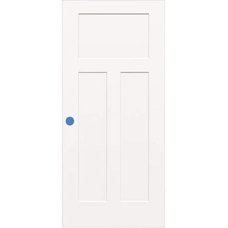 Shop Reliabilt 3 Panel Craftsman Hollow Core Smooth Bored Interior Slab Door Common 30 In X 80