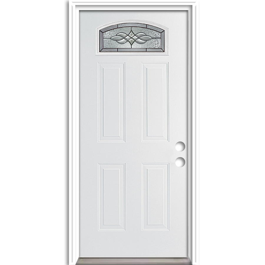 Shop reliabilt morelight decorative prehung inswing fiberglass entry door common 36 in x 80 in for Lowes fiberglass exterior doors