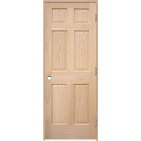 Shop Reliabilt Prehung 6 Panel Oak Interior Door Common 30 In X 80 In Actual 31 5 In X