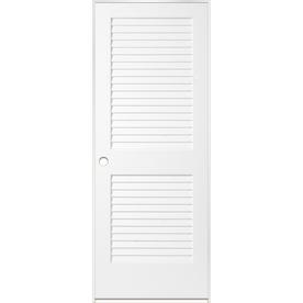 Shop reliabilt white prehung plantation louver pine for Prehung louvered interior doors