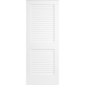 Shop Reliabilt White Plantation Louver Pine Slab Interior Door Common 36 In X 80 In Actual