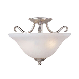Pyramid Creations 14-in W Satin-Nickel Frosted Glass Semi-Flush Mount Light