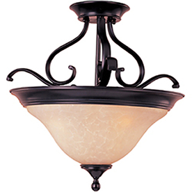 Pyramid Creations 19-in W Oil-Rubbed Bronze Frosted Glass Semi-Flush Mount Light