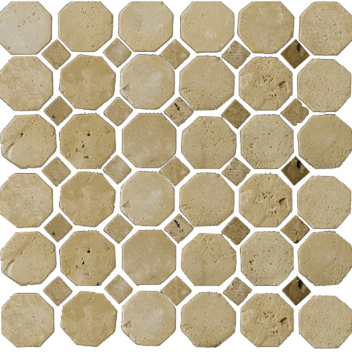 "Zoomed: Emser 12"" x 12"" Octagon Beige/Mocha Travertine Tile"