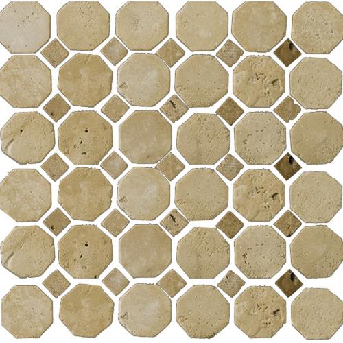 """Zoomed: Emser 12"""" x 12"""" Octagon Beige/Mocha Travertine Tile"""