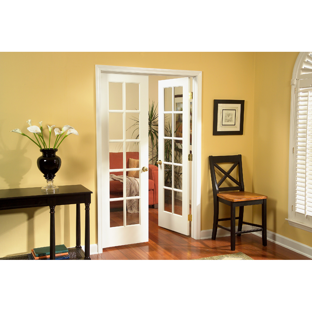 Shop sincol 48 10 lite pine interior french door unit at - Interior french doors for office ...