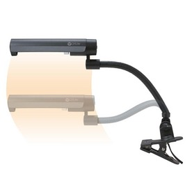 OttLite 24-in Adjustable Gray Clip-On Desk Lamp with Plastic Shade