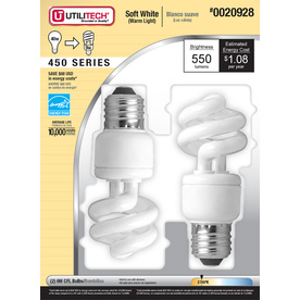 Utilitech 2-Pack 9-Watt (40W) Spiral Medium Base Soft White (2700K) Outdoor CFL Bulbs ENERGY STAR