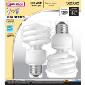 Utilitech 2-Pack 18-Watt (75W Equivalent) 2,700K Spiral Soft White Outdoor CFL Bulb ENERGY STAR