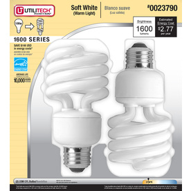 Utilitech 2-Pack 23-Watt (100W) Spiral Medium Base Soft White (2700K) Outdoor CFL Bulbs ENERGY STAR