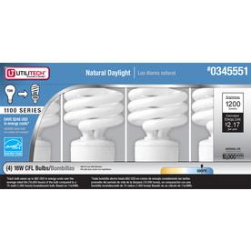Utilitech 4-Pack 18-Watt (75W) Spiral Medium Base Daylight (5000K) Outdoor CFL Bulbs ENERGY STAR