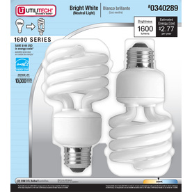 Utilitech 2-Pack 23-Watt (100W) Spiral Medium Base Bright White (3500K) Outdoor CFL Bulbs ENERGY STAR