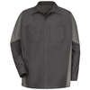 Red Kap Men's XX-Large Charcoal Poplin Polyester Blend Long Sleeve Uniform Work Shirt