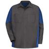 Red Kap Men's XL-Long Charcoal/Royal Blue Poplin Polyester Blend Long Sleeve Uniform Work Shirt