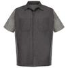 Red Kap Men's Large-Long Charcoal Poplin Polyester Blend Short Sleeve Uniform Work Shirt