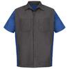 Red Kap Men's X-Large Charcoal/Royal Blue Poplin Polyester Blend Short Sleeve Uniform Work Shirt