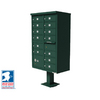 Florence 30-1/2-in x 62-in Metal Forest Green Lockable Cluster Mailbox