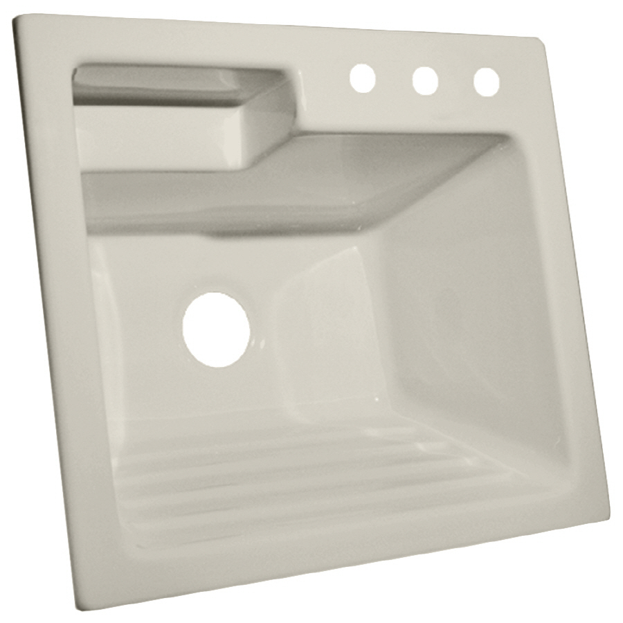 Shop CorStone Bone Acrylic Self-Rimming Laundry Sink at Lowes.com