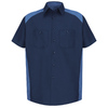 Red Kap Men's Medium-Long Navy Poplin Polyester Blend Short Sleeve Uniform Work Shirt