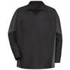 Red Kap Men's Medium Black/Charcoal Poplin Polyester Blend Long Sleeve Uniform Work Shirt