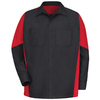 Red Kap Men's XL-Long Black/Red Poplin Polyester Blend Long Sleeve Uniform Work Shirt