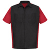 Red Kap Men's XL-Long Black/Red Poplin Polyester Blend Short Sleeve Uniform Work Shirt