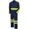 Red Kap 46 Men's Navy with Yellow/Green Reflective Trim Long Sleeve Coveralls
