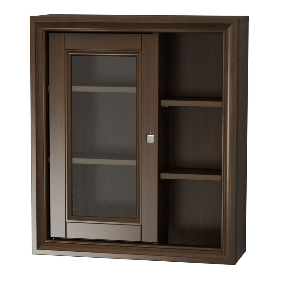 shop allen roth caterton java wall cabinet common 22 in actual