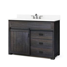 style selections morriston distressed java undermount single sink bathroom vanity with engineered stone top common