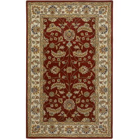 Artistic Weavers Hampton Rectangular Red Floral Tufted Wool Area Rug (Common: 5-ft x 8-ft; Actual: 5-ft x 8-ft)
