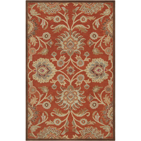 Artistic Weavers Aberdeen Rectangular Orange Floral Tufted Wool Area Rug (Common: 8-ft x 11-ft; Actual: 8-ft x 11-ft)