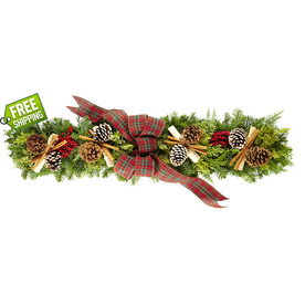 allen + roth Fresh-Cut Christmas Centerpiece with Pinecones and Bow