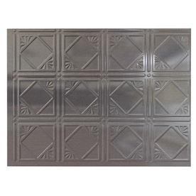 Fasade 18.5-in x 24.5-in Cross Hatch Silver Thermoplastic Multipurpose Backsplash
