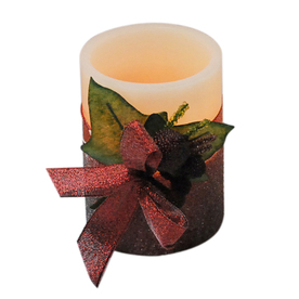 "Holiday Living 4"" Cordless Indoor Red Glittered LED Pillar Candle"