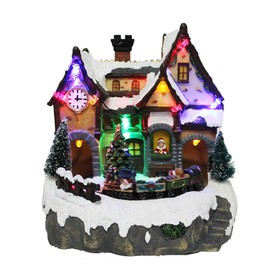 Holiday Living Resin Lighted Musical Animated Train Station Christmas Collectible