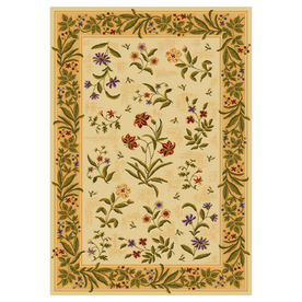Shaw Living Summer 3-ft 10-in x 5-ft 5-in Rectangular Beige Floral Area Rug
