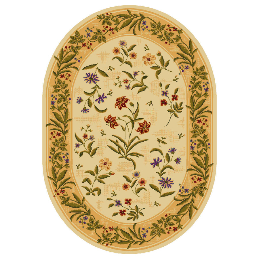 Shop Shaw Living Summer Flowers Oval Cream Floral Area Rug Common 5 Ft X 8