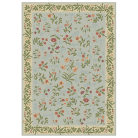 Shaw Living Summer Flowers Rectangular Blue Floral Area Rug (Common: 8-ft x 10-ft; Actual: 7-ft 9-in x 131-in)