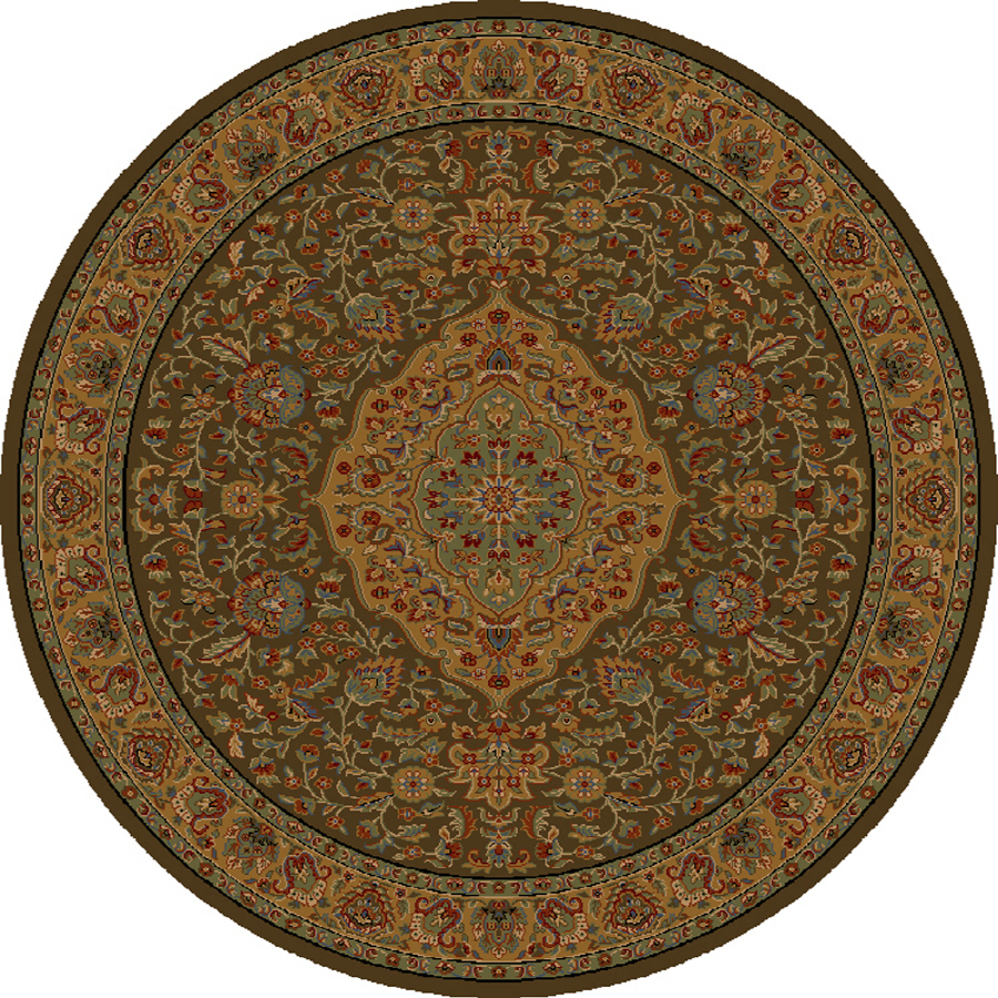Shop Shaw Living Zanzibar 7 Ft 7 In X 7 Ft 7 In Round Brown Border Area Rug A