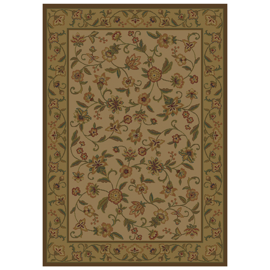 Shop Shaw Living Alice Rectangular Cream Floral Area Rug (Common: 9-ft x 12-ft; Actual: 9-ft 2 ...