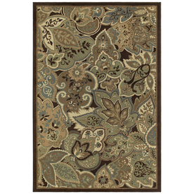 Shaw Living Marrakech Rectangular Brown Floral Woven Area Rug (Common: 5-ft x 8-ft; Actual: 5.25-ft x 7.83-ft)