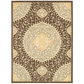 allen + roth Thorndale Rectangular Brown Floral Area Rug (Common: 10-ft x 13-ft; Actual: 9-ft 6-in x 14-ft 6-in)