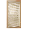 Style Selections 23-in W x 64-in L White Etched Woodgrain Faux Wood 2-in Slat Room Darkening Plantation Blinds