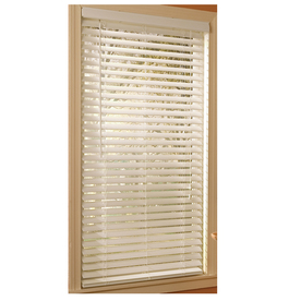 Style Selections 47-in W x 64-in L White Etched Woodgrain Faux Wood 2-in Slat Room Darkening Plantation Blinds 70124