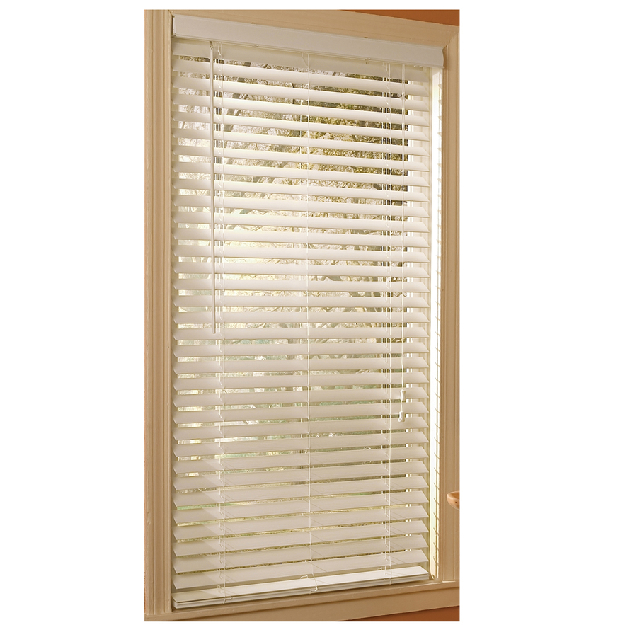 shop style selections white faux wood 2 in slat room